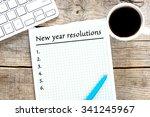 new year resolutions written on ... | Shutterstock . vector #341245967
