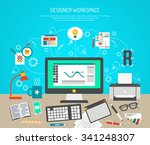 designer workspace concept with ... | Shutterstock .eps vector #341248307