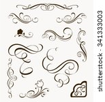 set of decorative flourish... | Shutterstock .eps vector #341333003