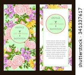 invitation with floral... | Shutterstock .eps vector #341337617