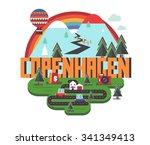 copenhagen in denmark is...   Shutterstock .eps vector #341349413