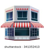 vector building with awning | Shutterstock .eps vector #341352413