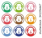 Colorful Stamp Of Monkey
