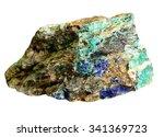 Lazurite, malachite, azurite copper minerals in rock