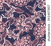 folkloric batik vector ornament.... | Shutterstock .eps vector #341407007