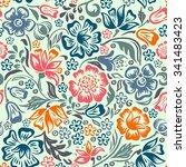 floral vector seamless pattern... | Shutterstock .eps vector #341483423