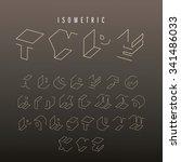 isometric outline alphabet... | Shutterstock .eps vector #341486033