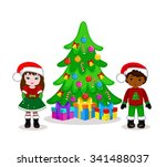 boy and a girl celebrating... | Shutterstock .eps vector #341488037