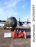 Small photo of C-130H Hercules transport open to tourists in the Hsinchu Air Base in Taiwan. In November 19, 2015