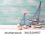 decorative sailing boats on... | Shutterstock . vector #341524907