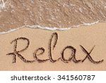 word relax is handwritten on... | Shutterstock . vector #341560787