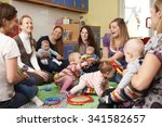 group of mothers with babies at ... | Shutterstock . vector #341582657