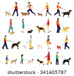 Stock vector dog trainer men women and children in casual clothes walking the dogs of different breeds active 341605787