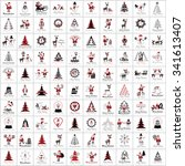christmas icons and elements... | Shutterstock .eps vector #341613407
