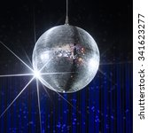 disco ball with stars in... | Shutterstock . vector #341623277