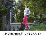 young sporty girl after the... | Shutterstock . vector #341677757