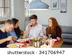 group of four young friends... | Shutterstock . vector #341706947