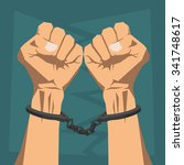 clenched hands in handcuffs | Shutterstock .eps vector #341748617