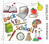 back to school doodle | Shutterstock .eps vector #341750933