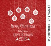 vintage christmas card with... | Shutterstock .eps vector #341763167