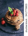buckwheat pancakes with berry... | Shutterstock . vector #341775803