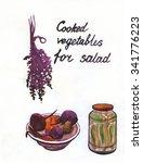 vegetables for salad  basil ...   Shutterstock . vector #341776223