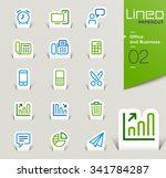 lineo papercut   office and... | Shutterstock .eps vector #341784287