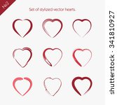 set of stylized vector hearts. 2 | Shutterstock .eps vector #341810927