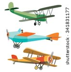set of vector retro airplanes | Shutterstock .eps vector #341831177
