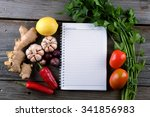 notebook with raw cooking... | Shutterstock . vector #341856983