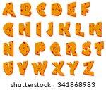 alphabet of salami sausage ... | Shutterstock .eps vector #341868983