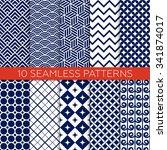 set of navy color geometric... | Shutterstock .eps vector #341874017