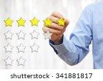 businessman writing  five star... | Shutterstock . vector #341881817
