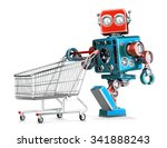 Retro Robot With Shopping Cart...