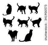 set of black cat's silhouette.... | Shutterstock . vector #341900573