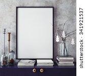mock up poster frame in hipster ...   Shutterstock . vector #341921537