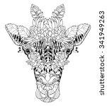 giraffe head doodle on white... | Shutterstock .eps vector #341949263