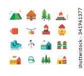 winter related icons and... | Shutterstock .eps vector #341961377