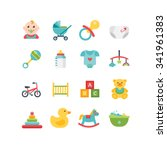 baby and child related icons ... | Shutterstock .eps vector #341961383