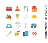 construction related icons and... | Shutterstock .eps vector #341961677