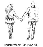 cute hand drawn young couple on ...   Shutterstock .eps vector #341965787