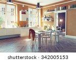 the modern kitchen interior. 3d ... | Shutterstock . vector #342005153