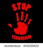 bloody handprint sign stop... | Shutterstock . vector #342020423