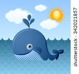 cute blue whale character is... | Shutterstock .eps vector #342021857