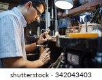 jeweler designing jewelry in... | Shutterstock . vector #342043403