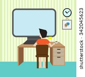 man sit in front of computer... | Shutterstock .eps vector #342045623