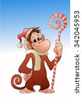 funny monkey in santa claus hat ... | Shutterstock .eps vector #342045953