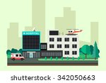 hospital with ambulance car and ... | Shutterstock . vector #342050663