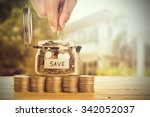save money with stack money... | Shutterstock . vector #342052037