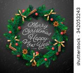 christmas greeting card and... | Shutterstock .eps vector #342053243